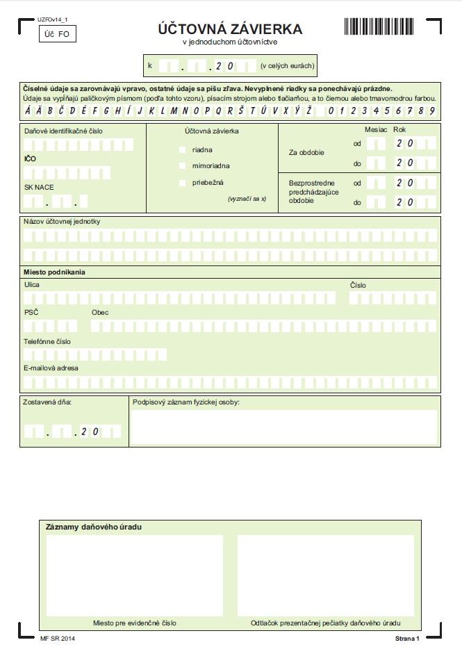 Identifikačná časť účtovnej závierky v jednoduchom účtovníctve